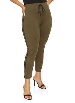 Plus Size Soft Knit Side Stripe Leggings - 3928069397137