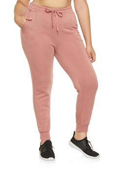 Plus Size Fleece Lined Sweatpants - 3928072290137