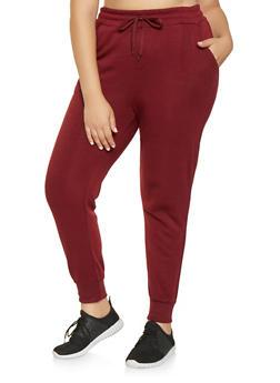 Plus Size Fleece Lined Sweatpants - 3928072290137