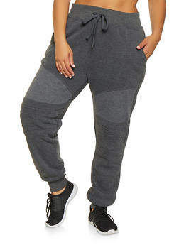 Plus Size Moto Sweatpants - 3928072290186