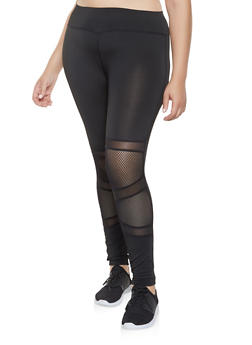 Plus Size Mesh Insert Activewear Leggings - 3928074659299