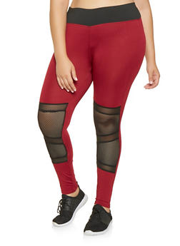 Plus Size Mesh Insert Activewear Leggings - 3928074659299