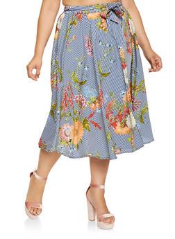 Plus Size Floral Striped Skater Skirt - 3929056126992