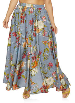 Plus Size Striped Floral Maxi Skirt - 3929056127016