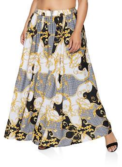 Plus Size Status Print Maxi Skirt - 3929056127044
