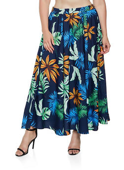 Plus Size Tropical Print Maxi Skirt - Multi - Size 1X - 3929056127062