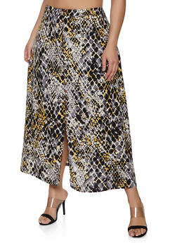 524e24b301 Plus Size Snake Print Faux Button Maxi Skirt - 3929056127063