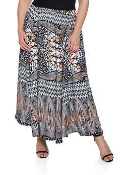 Plus Size Printed Maxi Skirt - 3929056127064