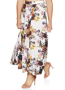 Plus Size Floral Maxi Skater Skirt - 3929056127069