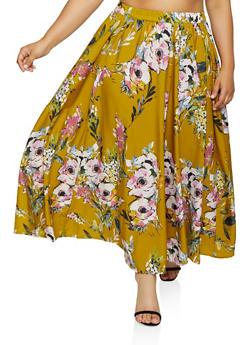 Plus Size Floral Maxi Skater Skirt | 3929056127070 - 3929056127070