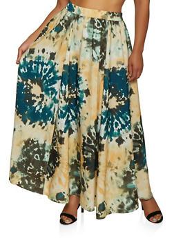 Plus Size Tie Dye Maxi Skater Skirt - 3929056127707
