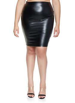 Plus Size Faux Leather Pencil Skirt - 3929068196012