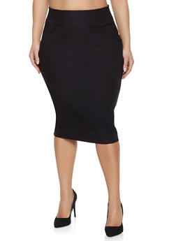 Plus Size Stretch Pencil Skirt - 3929068512112