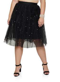 Plus Size Faux Pearl Tulle Skirt - 3929069390222