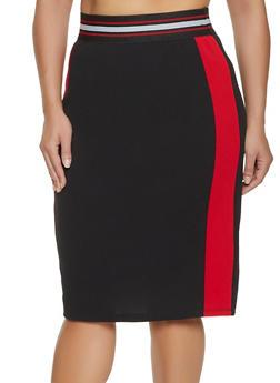 Plus Size Color Block Pencil Skirt - 3929069390237