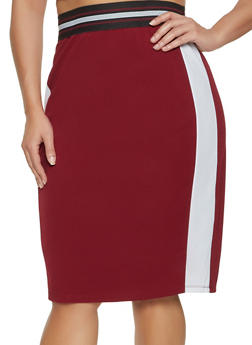 Plus Size Color Block Pencil Skirt - 3929069390237