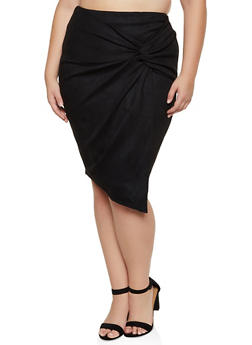 Plus Size Twist Front Faux Suede Skirt - 3929069390266