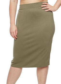 Plus Size Midi Pencil Skirt - 3929069391086