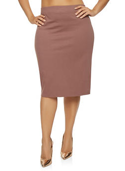 Plus Size Midi Pencil Skirt - 3929069391086