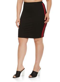 Plus Size Varsity Stripe Pencil Skirt - 3929069391215