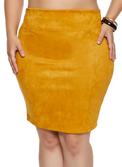 Plus Size Faux Suede Skirt - 3929069391280