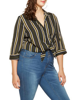 Plus Size Striped Tie Front Shirt - 3929069391972
