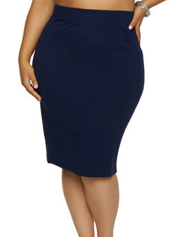 Plus Size Ponte Knit Midi Pencil Skirt | 3929069392009 - 3929069392009