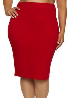 Plus Size Ponte Knit Midi Pencil Skirt | 3929069392009 - 3929069392009