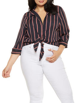 Plus Size Striped Tie Front Shirt - 3929069392197