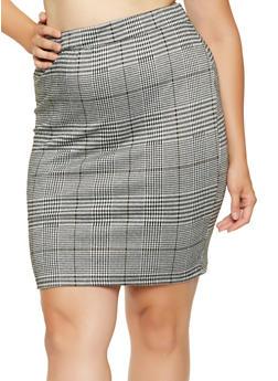 Plus Size Plaid Pencil Skirt - 3929069398014