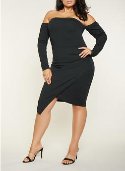 Plus Size Asymmetrical Off the Shoulder Bodycon Dress - 3930015990094