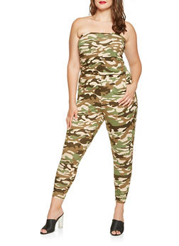 Plus Size Camo Tube Jumpsuit - 3930015990101
