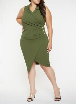 Plus Size Faux Wrap Blazer Dress - 3930015990607