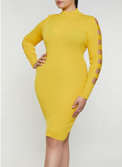 Plus Size Laser Cut Sleeve Sweater Dress - 3930015990610