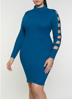 Plus Size Laser Cut Sleeve Sweater Dress - 3930015990610