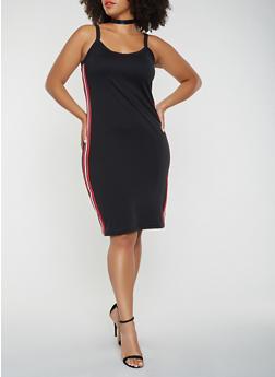 Plus Size Ribbed Knit Trim Tank Dress - 3930015990735