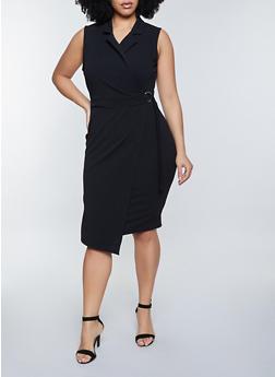 Plus Size Sleeveless Collared Bodycon Dress - 3930015991000