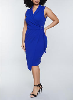 Plus Size Sleeveless Collared Bodycon Dress - 3930015991000