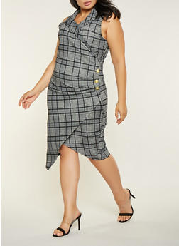 Plus Size Plaid Asymmetrical Dress - 3930015991607
