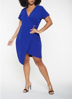 Plus Size Textured Knit Faux Wrap Dress - 3930015991609