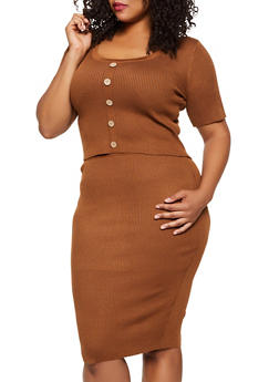 Plus Size Button Front Top and Pencil Skirt Set - 3930015991710