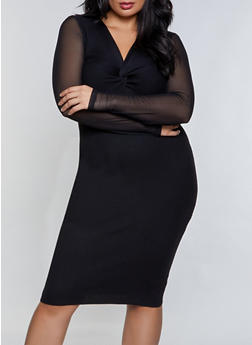 Plus Size Twist Front Mesh Sleeve Sweater Dress - 3930015992002
