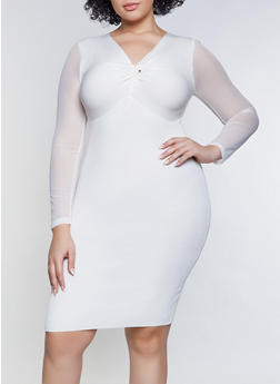 Plus Size Twist Front Mesh Sleeve Sweater Dress - 3930015992002