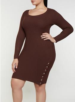 Plus Size Snap Button Sweater Dress - 3930015992110