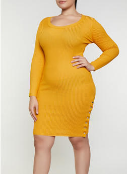 Plus Size Snap Button Sweater Dress - 3930015992110