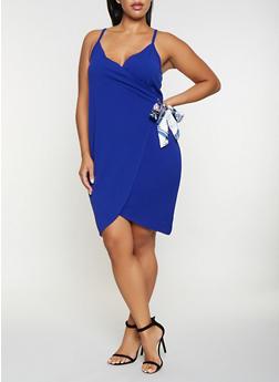 Plus Size Tie Wrap Dress - 3930015992609