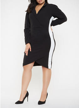 Plus Size Faux Wrap Blazer Dress - 3930015993800