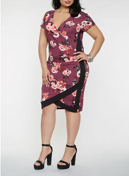 Plus Size Floral Faux Wrap Dress - 3930015994127