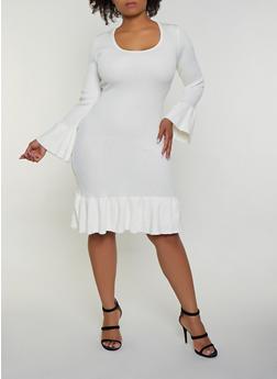 Plus Size Ruffle Trim Sweater Dress - 3930015994221