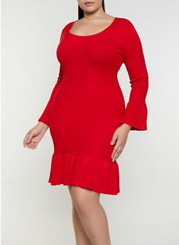 Plus Size Ruffle Trim Sweater Dress - 3930015994221